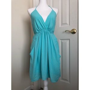 Seafoam blue halter dress